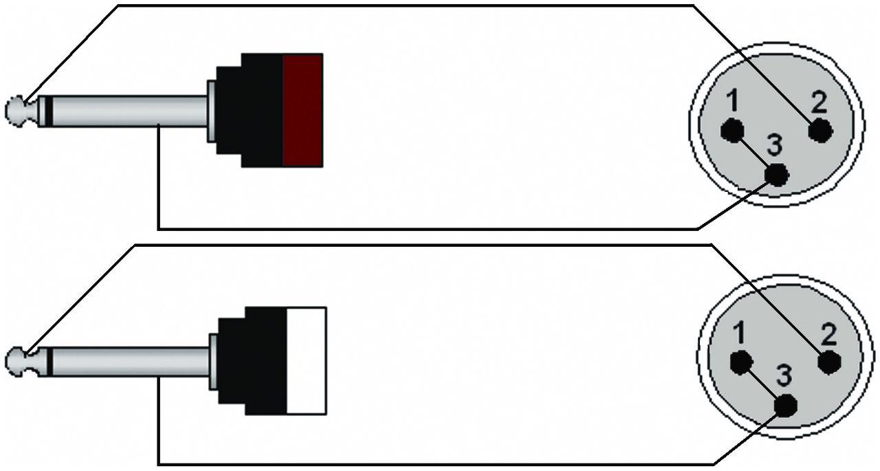 Procab Cab708  3 Verloopkabel  2 X 6 3mm Ts Jack 2 X Xlr